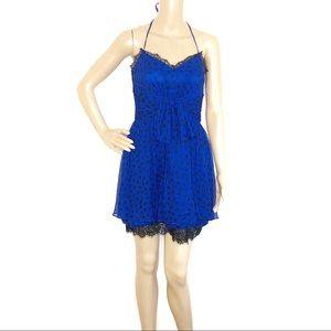 Jill Stuart Blue & Black Polka Dot Silk Dress
